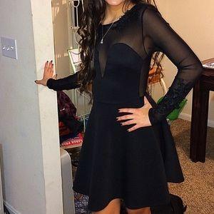 A black, Short dress